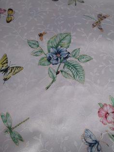 Lenox BUTTERFLY MEADOW Botanical Shower Curtain Butterflies Dragonflies EUC