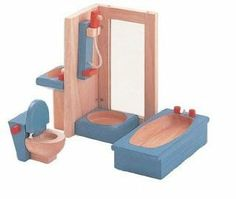 PLAN TOYS Dollhouse Furniture - Neo Bathroom by Plan Toys. $17.81. ? There is working lid on the toilet, and the sink and shower parts can be arranged.. ? This is a wonderful set that can foster imaginative play at most ages. Helps Develop A Child's Imagination. Neo Style type of furniture sets are specially designed in fun bright colors. This Toy Is Made From All Natural Organic Recycled Rubber Wood. From the Manufacturer                Plan Toy Doll House Living R...