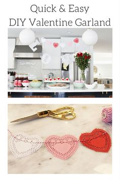 If you have 10 minutes, you have plenty of time to make your own Valentine garland. Using heart-shaped doilies and baker's twine, this DIY Valentine decoration adds sweet charm to your Valentine's Day celebration. #DIY #Valentine