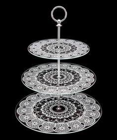 Look at this #zulilyfind! Three-Tier Lace Glass Tray by Godinger #zulilyfinds