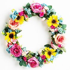 Spring Summer Door Wreath Artificial Rose Sun Flower Home wall Decor 18-inch Wedding Party Decoration -- More infor at the link of image  : Christmas Decorations