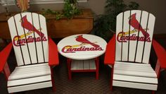 Saint louis cardinals chairs hand painted by creative lee projects