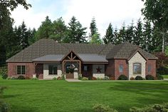 This lovely Ranch style home with Traditional influences (House Plan has 3500 square feet of living space. The 1 story floor plan includes 3 bedrooms. European House Plans, Craftsman Style House Plans, Luxury House Plans, Family House Plans, Ranch House Plans, Best House Plans, Family Room Fireplace, Fireplace Wall, Building A Porch