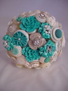 The Something (Tiffany) Blue Button Bouquet with Buttonhole.