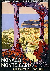 Travel poster.  Monaco Monte Carlo Au Pays Du Soleil.  Buy $22.00 24x36 Matte      Buy $40.00 36x54 Matte