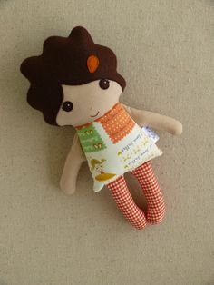 Reserved for Mindy - Fabric Doll Mini Cloth Doll Small Doll Orange and Gold Ballet Print Dress