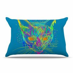 East Urban Home Frederic Levy-Hadida 'Candy Cat' Rainbow Pillow Case Color: Blue