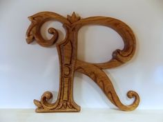 Letter R Wood Wall Art Wood Carving Wall Hanging or Furniture Applique, 6 to tall Ornate Letter R, Ash Wood, Walnut Stain, Satin Finish Mahogany Stain, Walnut Stain, Carved Wood Wall Art, Logo Gallery, Wood Letters, Fancy Letters, Vintage Interiors, Furniture Logo, Wood Species