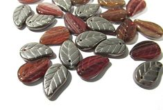 Czech Pressed Glass Leaf Beads Thirty (30) Czech Glass Leaves 14mm Silver Back Amber Marbleized Glass Bead Jewelry Supplies (Y94) by punksrus on Etsy