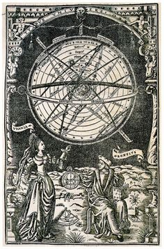 Illustration Of Oronce Fine, Astronomy Personified And An Armillary Sphere, 1542 Site Image, Esoteric Art, Occult Art, Sacred Geometry, Vintage Prints, Magick, Renaissance, Sketches, Poster Prints