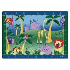 Carpets for Kids Literacy Alphabet Jungle Kids Area Rug Rug Size: Classroom Carpets, Kids Area Rugs, Carpets For Kids, Alphabet For Kids, Baby Elephant, Giraffe, Animal Design, Throw Rugs, Rug Size