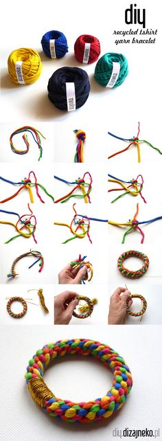 Recycled tshirt yarn bracelet-can follow pictures to make