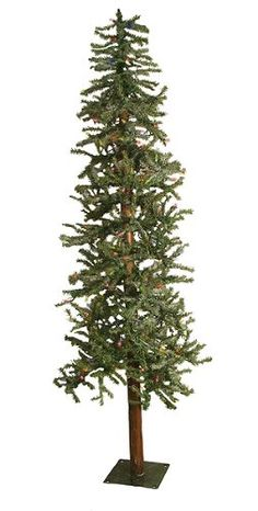"$59.99-$69.99 5 Foot Pre-Lit Artificial Christmas Tree From the Frosted Alpine Collection  Item #360528M  This natural-looking alpine tree is dusted with ""snow""-like frosting for a truly charismatic effect. Features short 0.75"" wide tips in a medium green color with a realistic, earthy wooden trunk.   Product Features:  Dimensions: 5 feet high  Approximate base diameter: 21 inches (at widest poi ..."