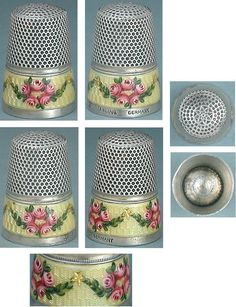Antique Enameled Sterling Silver Gabler Thimble (Hand Painted Garlands of Roses & Gold Stars Design, Vintage Early Mid 20th Century)