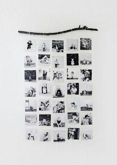 Fotos sempre ficam lindas no nosso quarto! E e super fácil de fazer! Você pode editar as fotos escolhidas em algum site e depois imprimir ou somente escolher o colocar em seu quarto, colada na parede ou usando essa ideia! De usar barbantes!