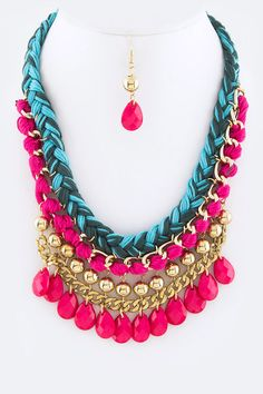 Braided Pink and Turq Stone Necklace