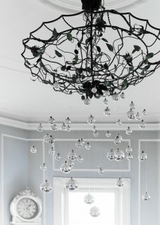 Iron Chandelier with Silver Decorations