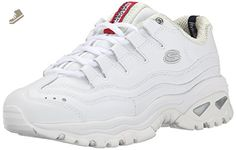 best sneakers 62019 84c49 Skechers Sport Women s Energy Sneaker, White Millennium, 9 M US Athletic  sneaker with wavy overlays and lace-up ghillie vamp Cushioned collar and  supportive ...