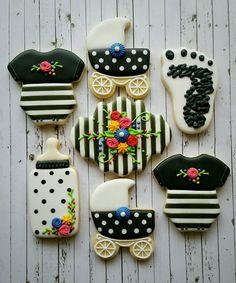 Baby Shower Cookies Pram Onesie Bottle Pram Foot Plaque Flowers Spots Stripes