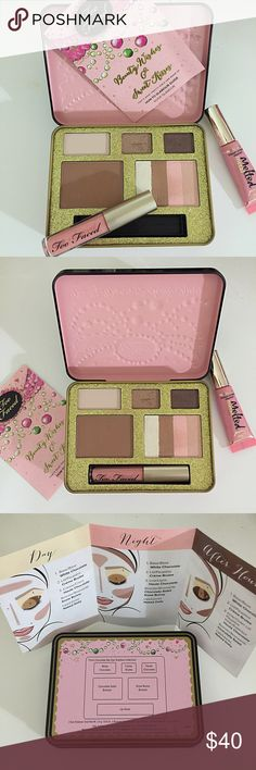Limited Edition TOO FACED Beauty Wishes Palette 2014 Limited Edition TOO FACED Beauty Wishes & Sweet Kisses Bronzing Palette. New, Swatched Once, never used. Eyeshadow colors are from the Chocolate Bar Collection: White Chocolate, Creme Brulee and Haute Chocolate. Bronzers: Chocolate Soleil and Snow Bunny. Lip Gloss: Naked Dolly.  Beautiful Tin box & How-To-Glamour Guide included. NWO Box. Too Faced Makeup Eyeshadow