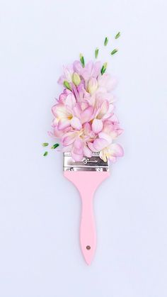 beautiful pink paint brush with floral arrangement flatlay, flatlay inspiration, photography inspiration, blogger images, blogger flatlay