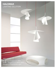 Aluminium suspension spiral-shaped curve white with halogen or fluorescent light #Halomax
