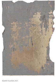 'Kliptafel' by Pierre le Riche, 2013. Laser-engraved Dutch gold leaf on concrete. #art