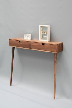 Walnut Wood Floating / With 2 Legs Console Hallway Table Entryway