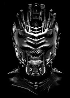 Dead Space - Black and white illustration from digital artist Obery Nicolas. #helmet #warrior
