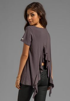 RVCA Hutton S/S Jersey Shirt With Open Back and Self Ruffle Drape in Gray
