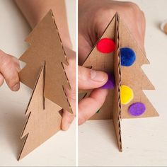 55 Ideas For Cardboard Tree Diy Martha Stewart Recycled Christmas Decorations, Christmas Crafts For Kids To Make, Christmas Art, Holiday Crafts, Cardboard Gingerbread House, Cardboard Tree, Cardboard Christmas Tree, Family Tree Wall Sticker, Diy And Crafts