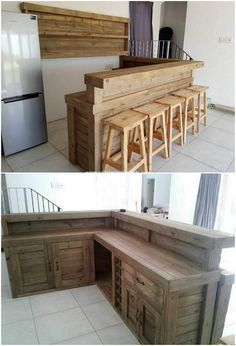 Superb Old Wood Pallets Reusing Tips: You might have some old wooden pallets in your house, but have you ever thought about using it for some effective purposes of home furnishing. Wood Pallet Bar, Pallet Designs, Wood Pallet Projects, Pallet Bar Diy, Bars For Home, Furniture, Home, Home Decor, Home Decor Items
