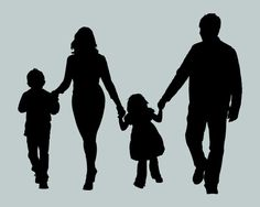 Custom Family Silhouette 4 people from your by ChickadeeDigital, $35.00
