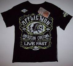 11bd4896 Buy Boys Medium M Affliction T Shirt Black Neon Yellow Indian American  Customs online | eBay