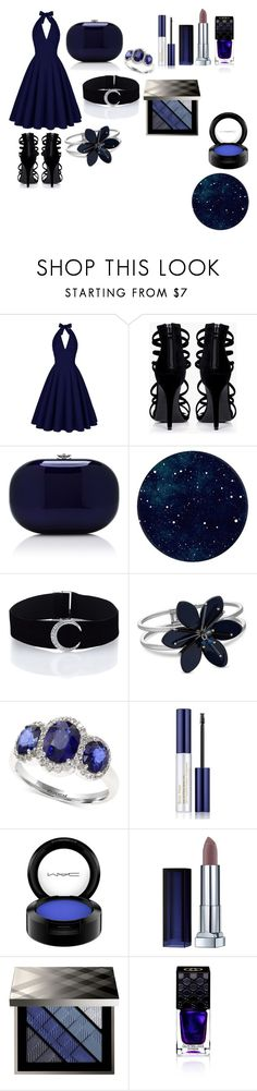 """In the Dark of the Night"" by giulia-ostara-re ❤ liked on Polyvore featuring Boohoo, Jeffrey Levinson, Effy Jewelry, Estée Lauder, MAC Cosmetics, Burberry, Gucci, Blue, Night and sapphire"