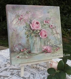 Glass Vase of Roses on Canvas Stretcher