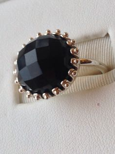 Onyx and sterling silver cocktail ring