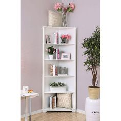 The corner design of this Tauranac Transitional 78 Corner Unit Bookcase creates a space-saving piece with amazing function. The multiple open shelves ensure ample space to store books, frames and more so there is never a lack of storage. Corner Bookshelves, Bookcase Shelves, Open Shelves, Glass Shelves, Corner Shelving, Unique Shelves, Bathroom Shelves, Bathroom Storage, Floating Shelves