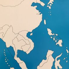 These unlabeled maps are used by children to learn all the different states in Asia they use sensorial excercies for this. World Geography, Kids House, Asia, Map, Activities, Location Map, Maps