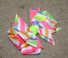 Neon Hot Zebra Hair Bow, Boutique Style, Back to School, MTM Justice.