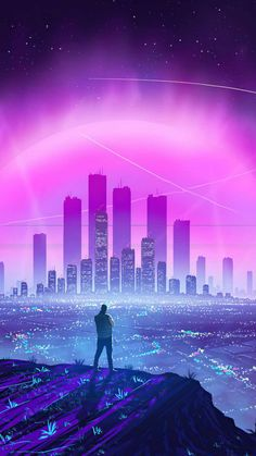 Lights of city Synthwave - iPhone Wallpapers