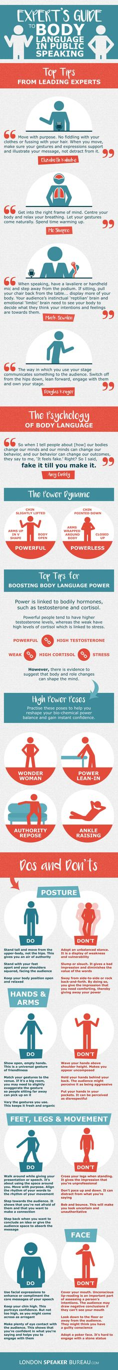 Expert's Guide to Body Language In Public Speaking #Infographic #Communication #PublicSpeaking