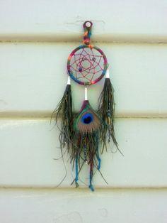 Rainbow Brite Peacock Mini Dream Catcher Necklace or by DreamRaes, $40.00
