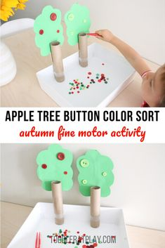 Learning colors can be fun with this Apple Tree Button Color Sort which is a amazingly fun fine motor activity! Outdoor Activities For Kids, Autumn Activities, Preschool Activities, Fall Crafts, Crafts For Kids, Diy Crafts, Crafty Kids, Toddler Learning, Learning Colors