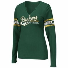 Green Bay Packers Ladies Gameday Gal V-Neck Long Sleeve Thermal - Green 0477b417858b6