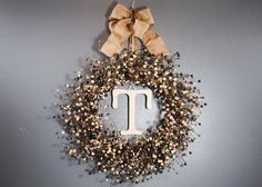 Large Willow Monogram Wreath / Front Door Wreath / Pip Berry / Personalized Monogramming with Initials / Initial Wreath. $42.00, via Etsy.
