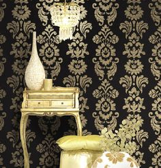 Top Class High Quality Black Damask Texture Pattern Non woven Wallpaper