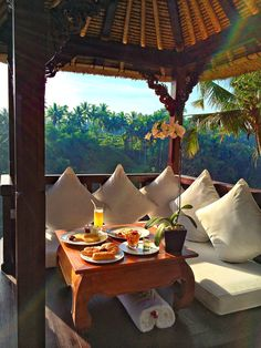 Breakfast in Private Bale in Villa @Lucy Kemp Kemp Kemp Madge Bali...outdoor luxurious porch for breakfast area on our private island <3