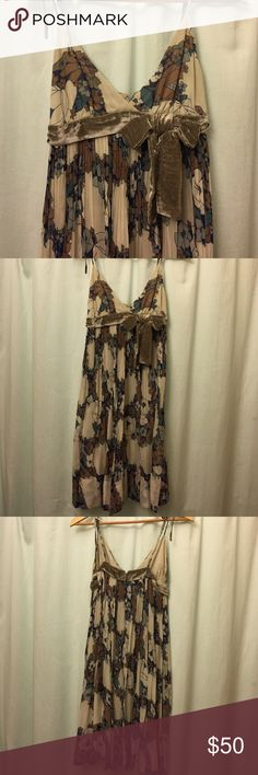 Gorgeous Anthropologie dress Maple for Anthropologie sheer dress with full lining. This is beautiful and I have only worn it a couple of times, as I do not dress up much. Adjustable straps that tie wherever you need them to. Hits at knee. Anthropologie Dresses Midi