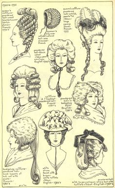 French and English Ladies Hats and Hair Styles, 1700-1795